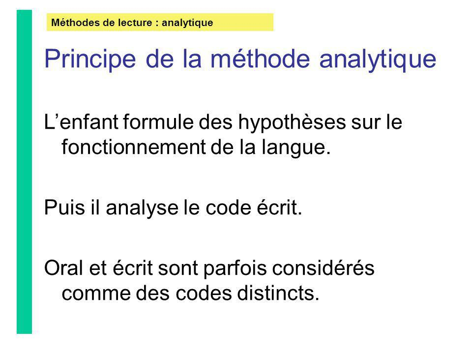 Principe de la méthode analytique