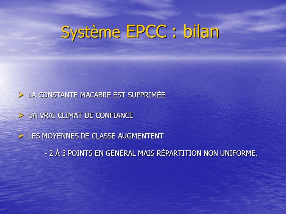 Système EPCC : bilan LA CONSTANTE MACABRE EST SUPPRIMÉE