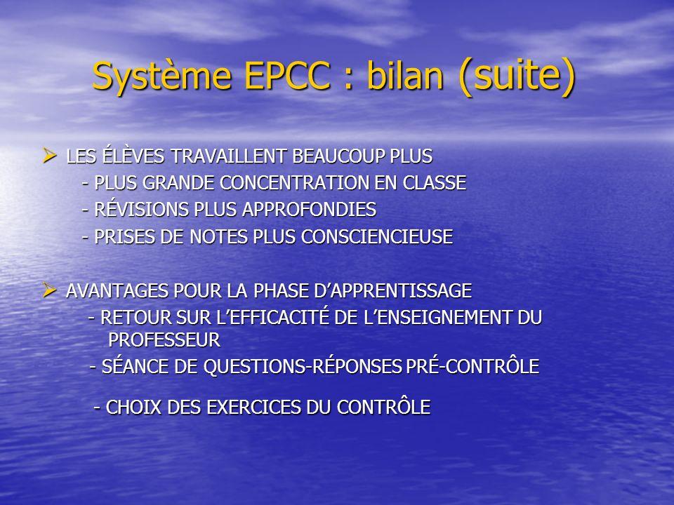 Système EPCC : bilan (suite)