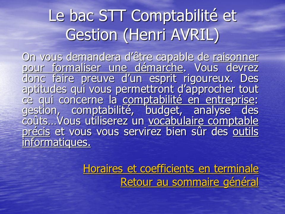 Le bac STT Comptabilité et Gestion (Henri AVRIL)