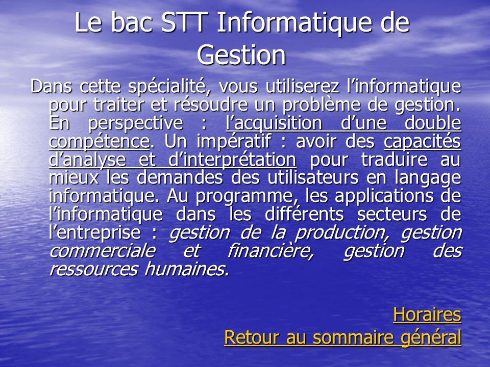 Le bac STT Informatique de Gestion