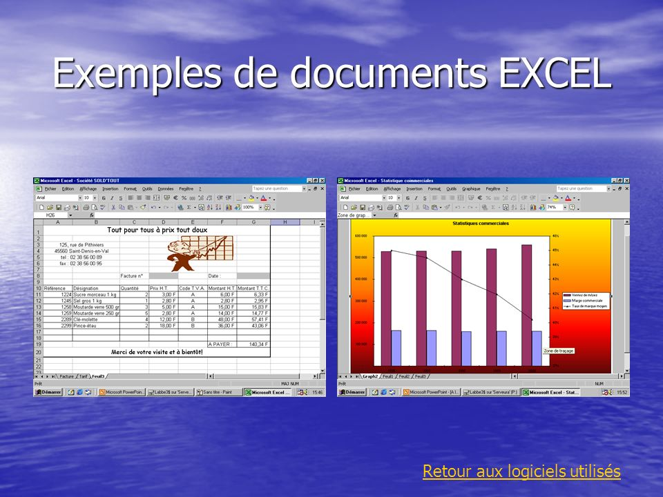Exemples de documents EXCEL