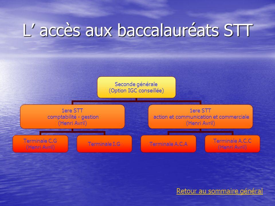 L' accès aux baccalauréats STT