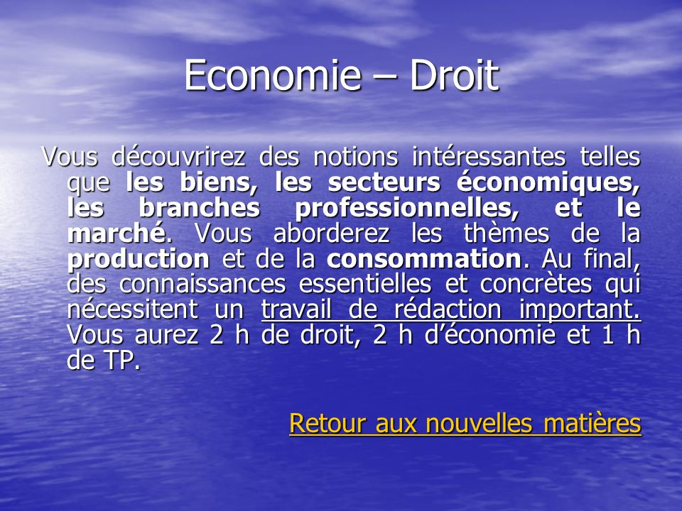 Economie – Droit