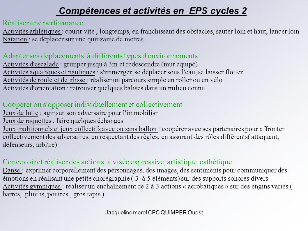 Compétences et activités en EPS cycles 2