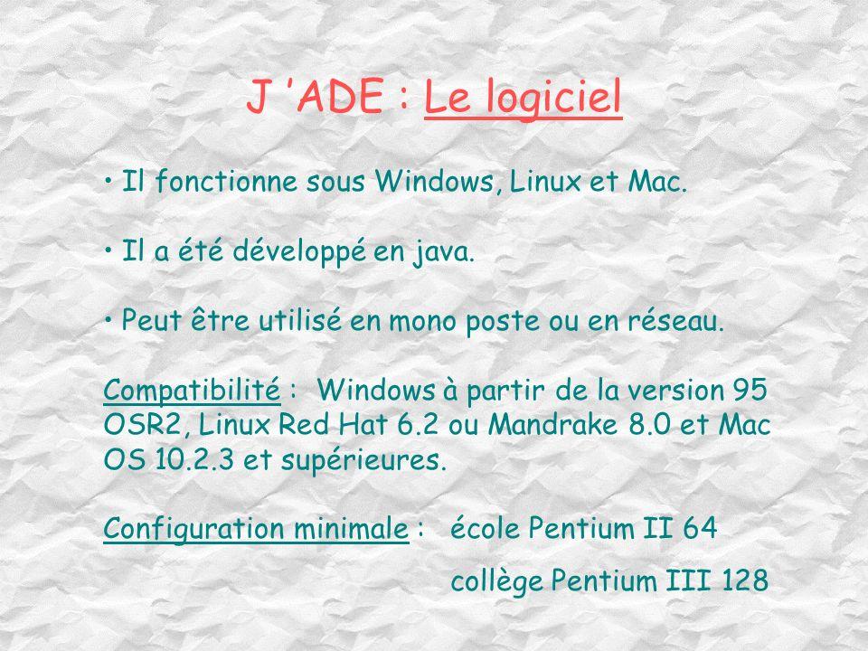 J 'ADE : Le logiciel Il fonctionne sous Windows, Linux et Mac.