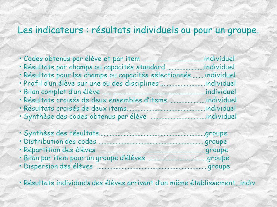Les indicateurs : résultats individuels ou pour un groupe.