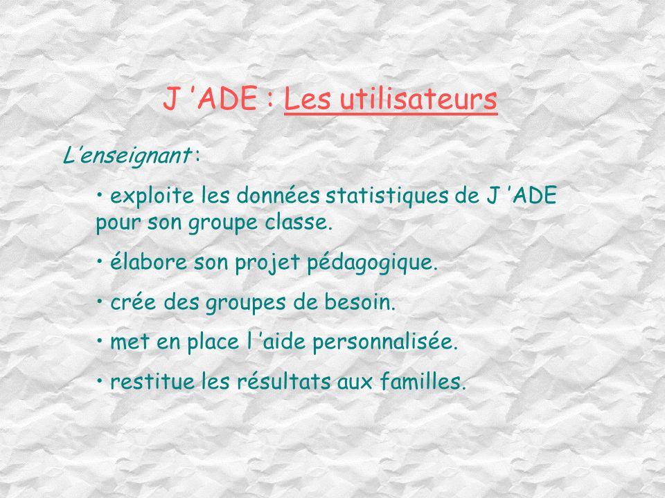 J 'ADE : Les utilisateurs