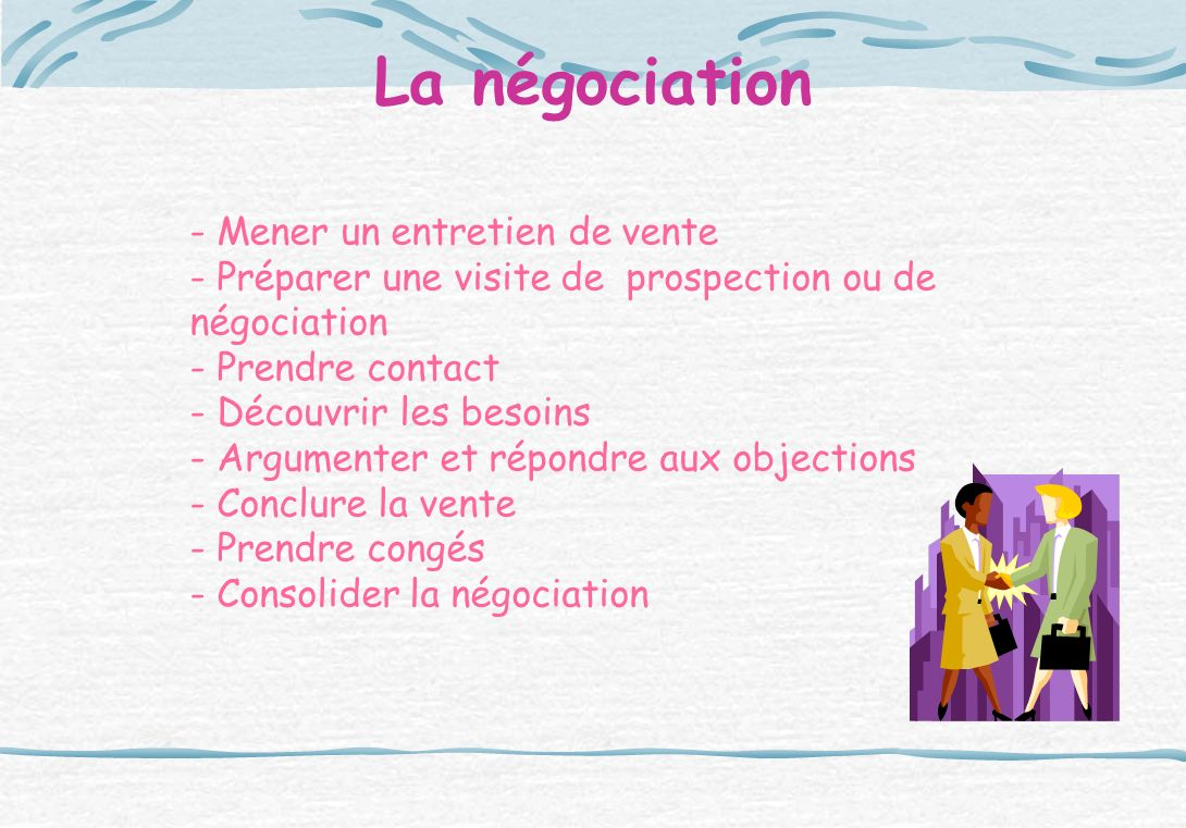 La négociation - Mener un entretien de vente