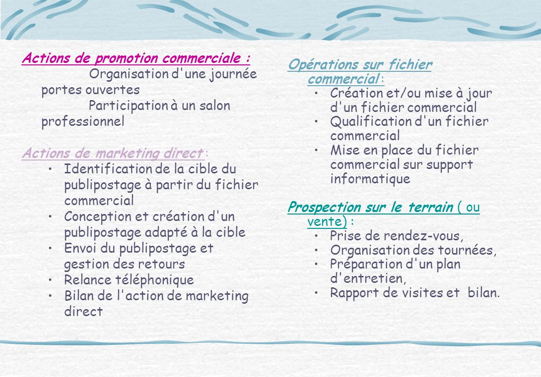 Actions de promotion commerciale :