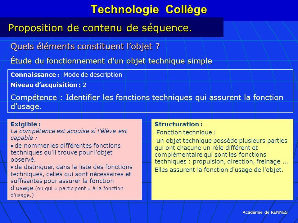 Technologie Collège Proposition de contenu de séquence.
