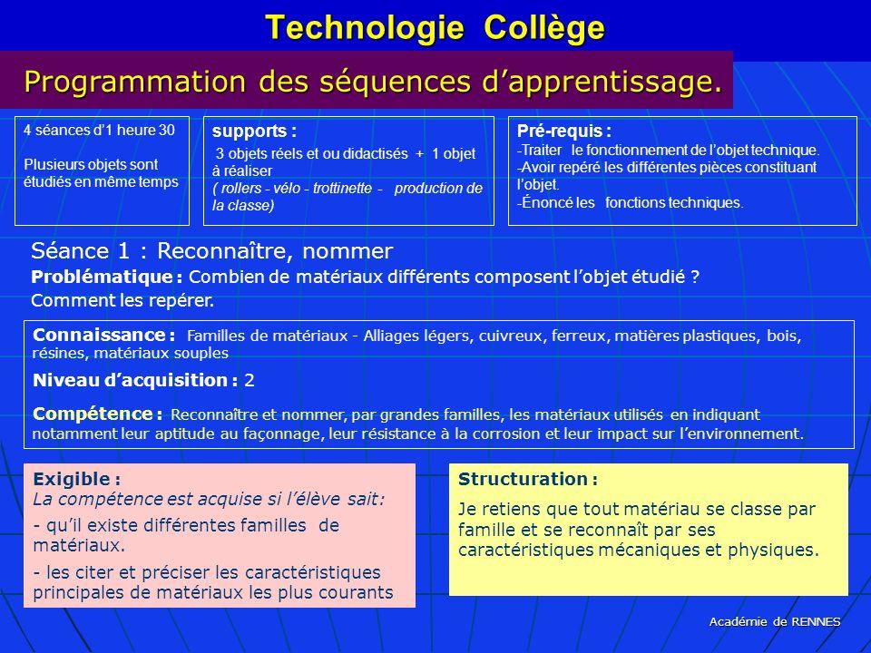 Technologie Collège Programmation des séquences d'apprentissage.