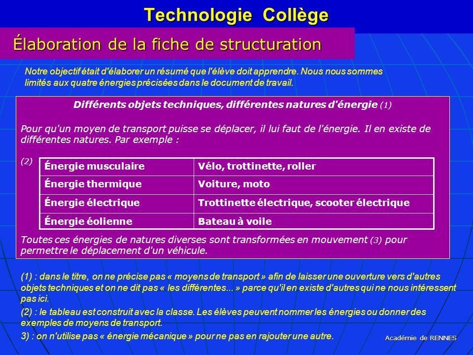 Différents objets techniques, différentes natures d énergie (1)