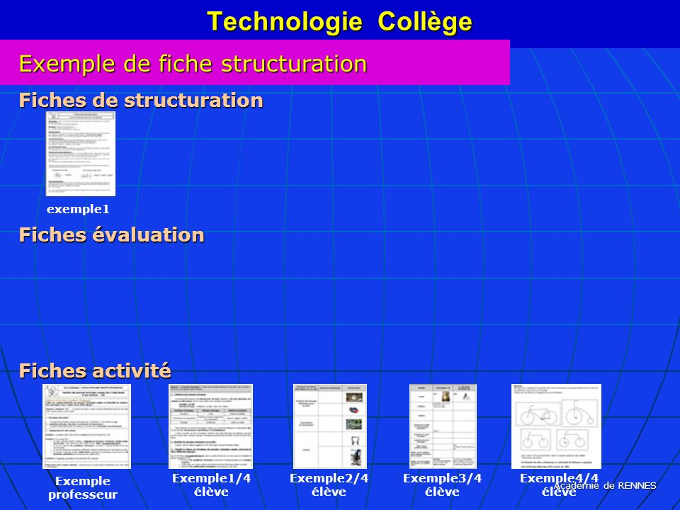 Technologie Collège Exemple de fiche structuration