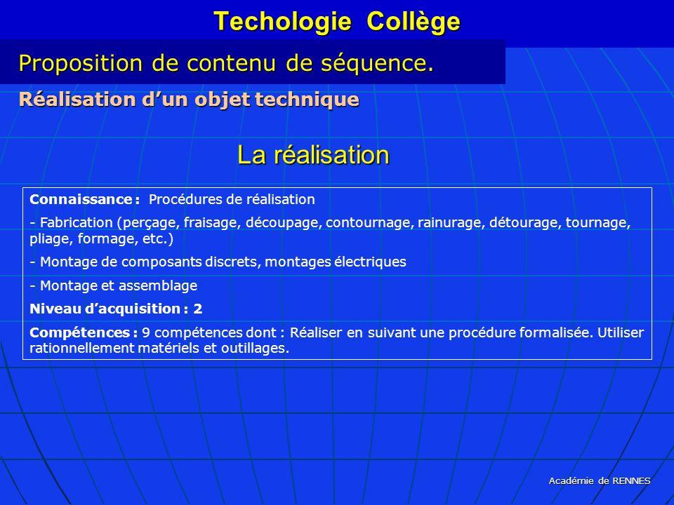 Techologie Collège La réalisation Proposition de contenu de séquence.