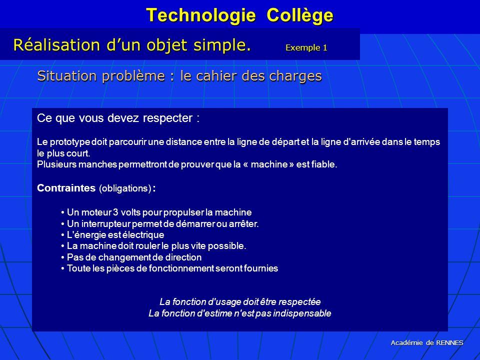 Technologie Collège Réalisation d'un objet simple. Exemple 1