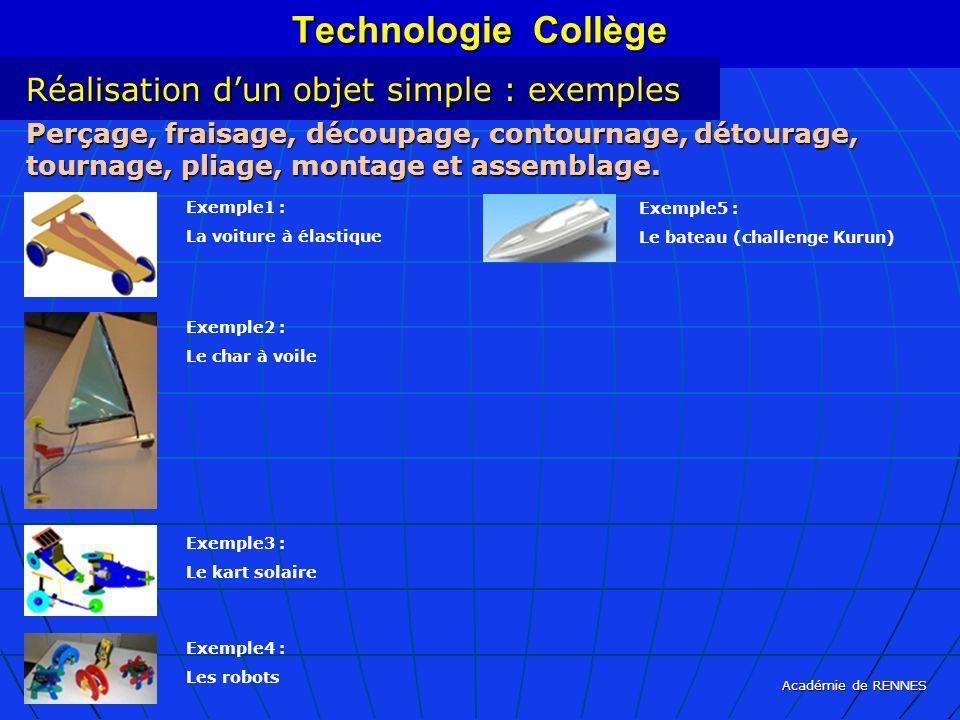 Technologie Collège Réalisation d'un objet simple : exemples
