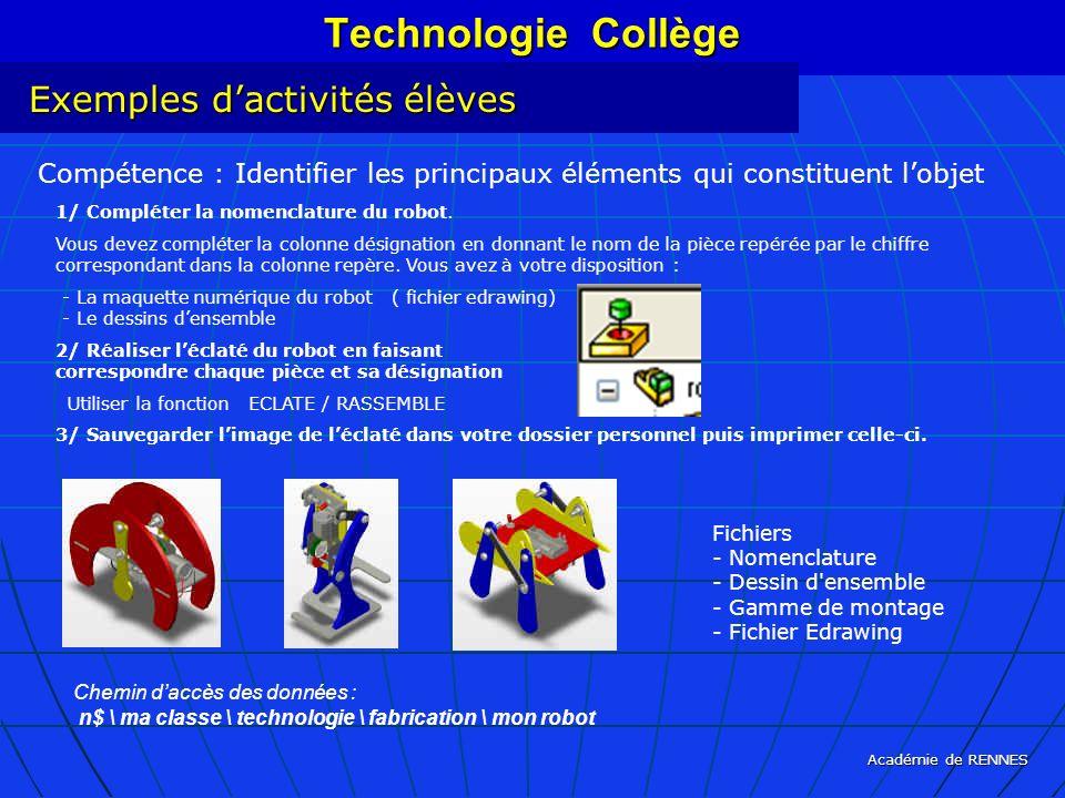 Technologie Collège Exemples d'activités élèves