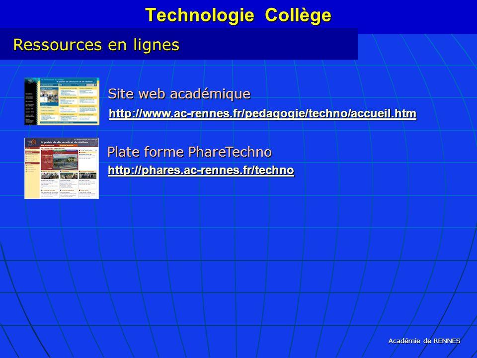 Technologie Collège Ressources en lignes Site web académique