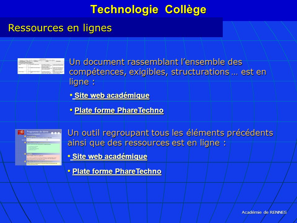 Technologie Collège Ressources en lignes