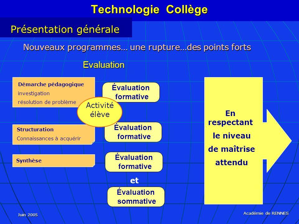 Technologie Collège Présentation générale Evaluation