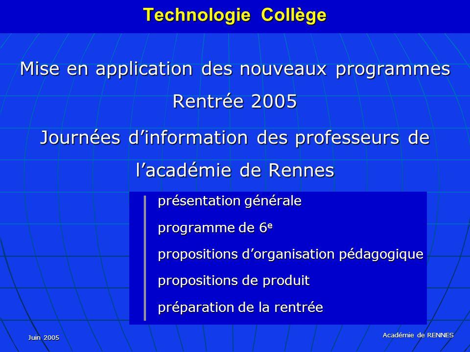 Mise en application des nouveaux programmes Rentrée 2005