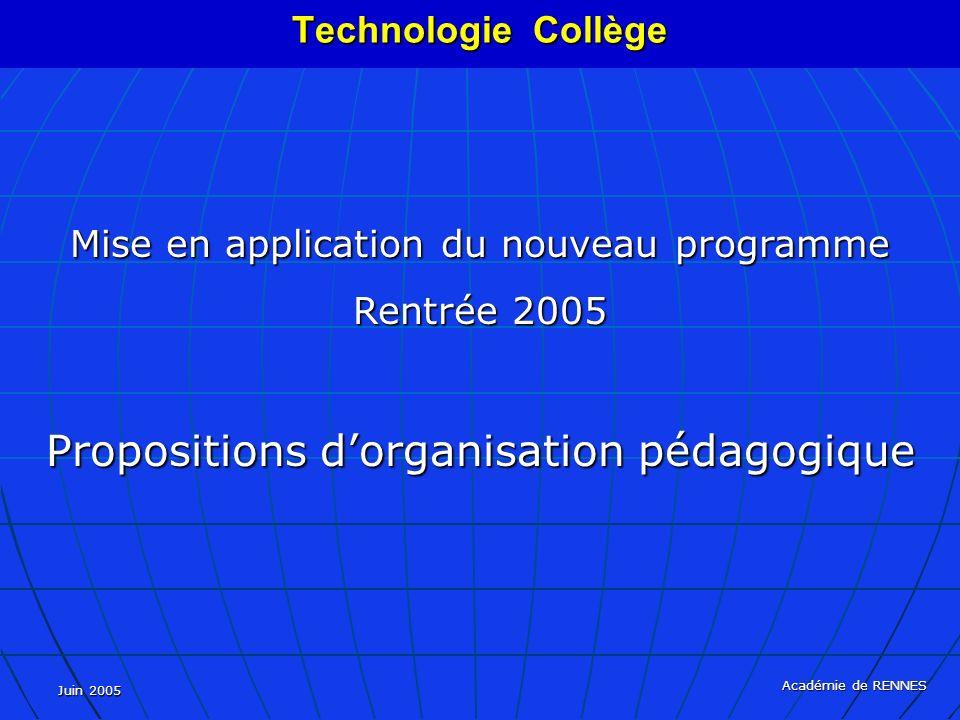 Propositions d'organisation pédagogique