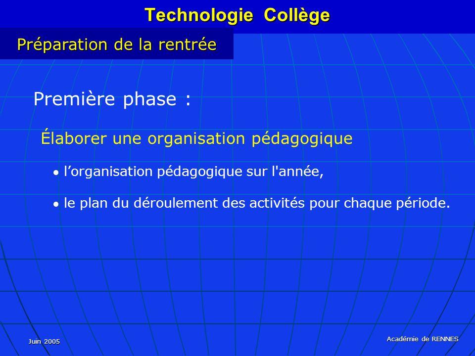 Technologie Collège Préparation de la rentrée