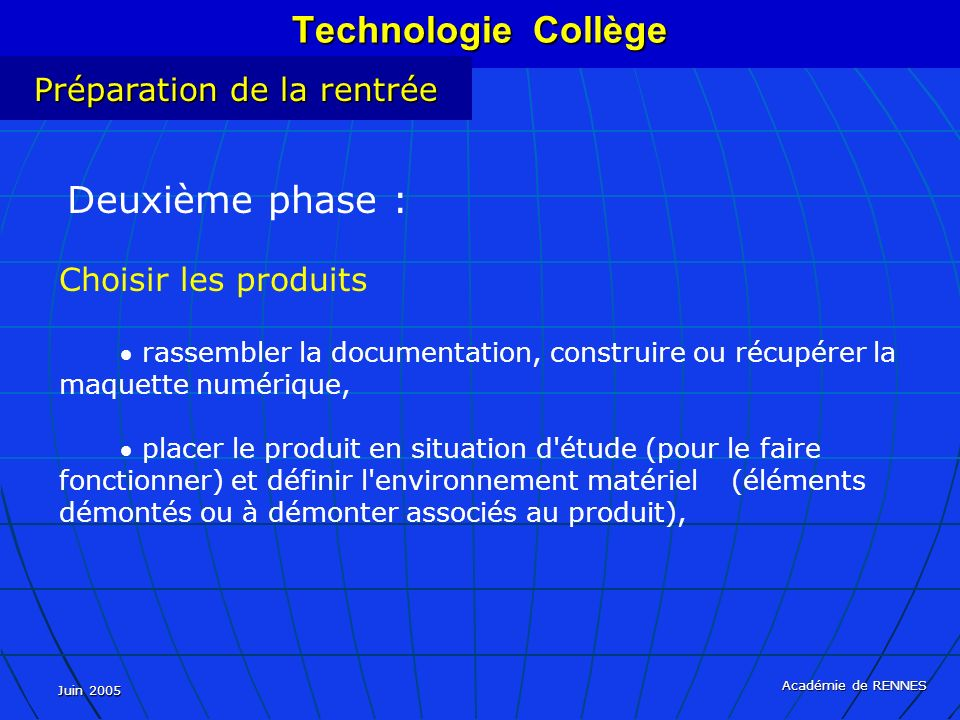 Technologie Collège Préparation de la rentrée Choisir les produits