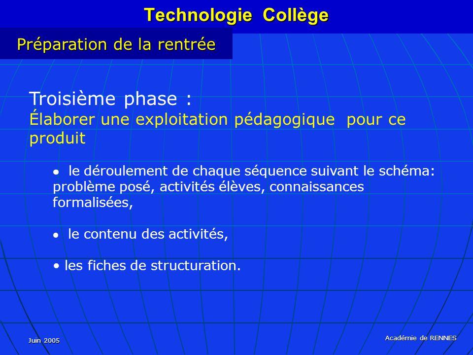 Technologie Collège Troisième phase : Préparation de la rentrée