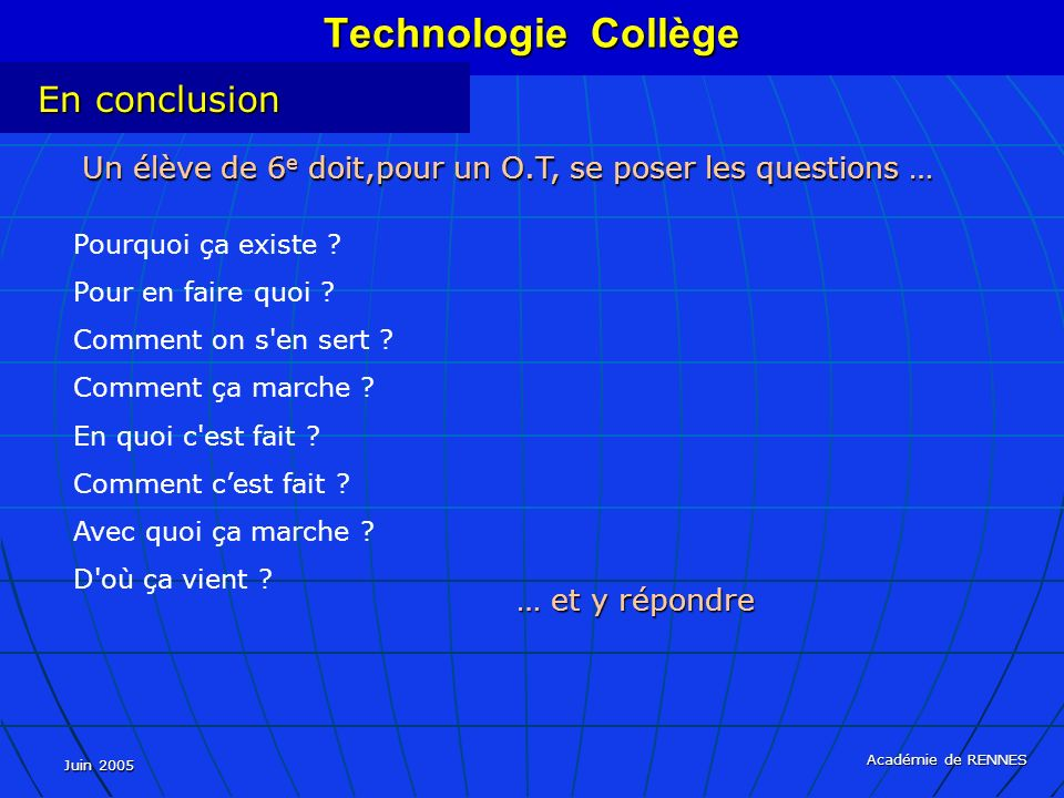 Technologie Collège En conclusion