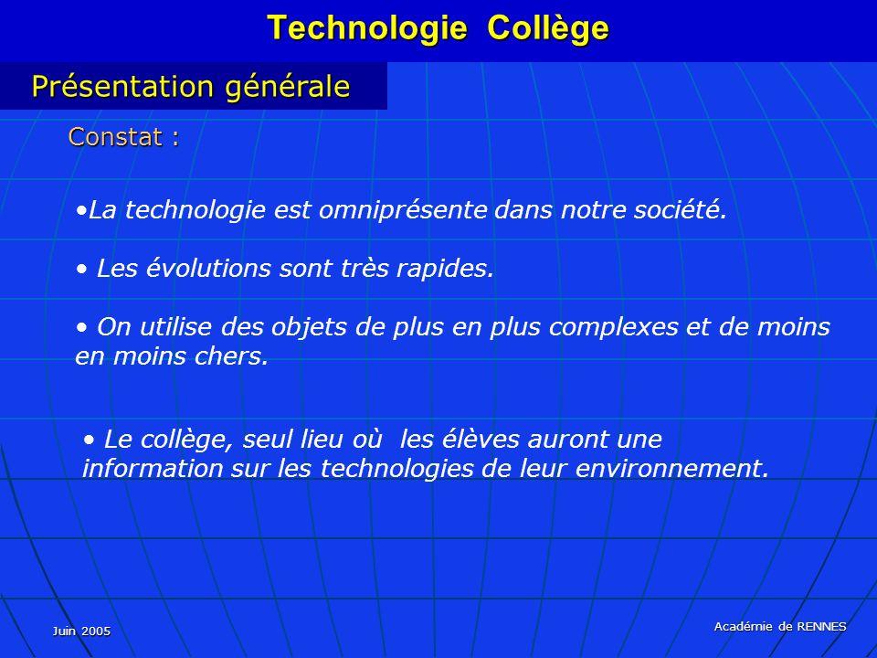 Technologie Collège Présentation générale Constat :