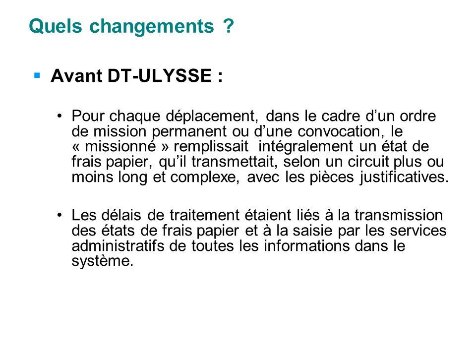 Quels changements Avant DT-ULYSSE :