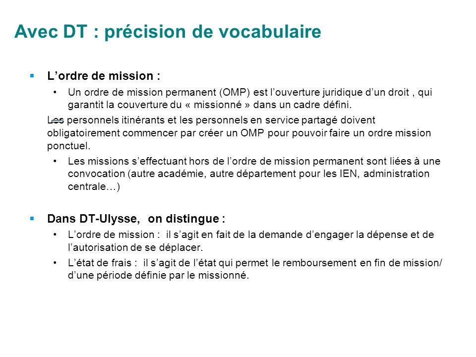 Avec DT : précision de vocabulaire