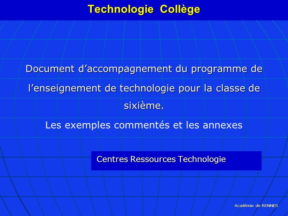 Technologie Collège Document d'accompagnement du programme de