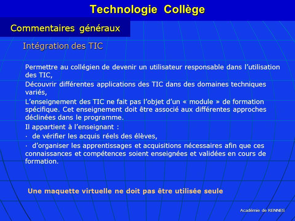 Technologie Collège Commentaires généraux Intégration des TIC