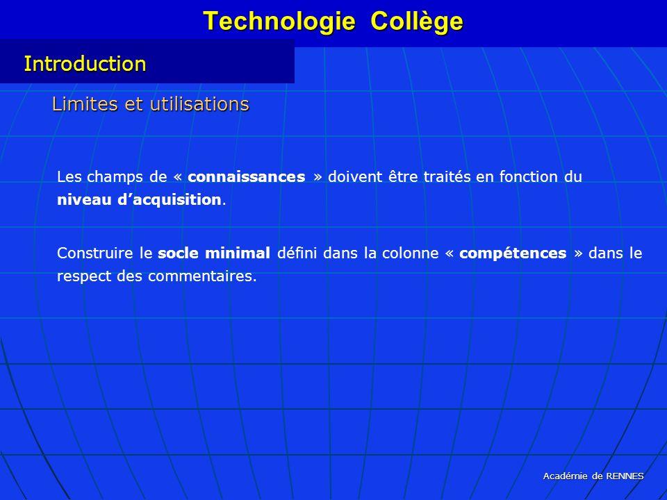 Technologie Collège Introduction Limites et utilisations