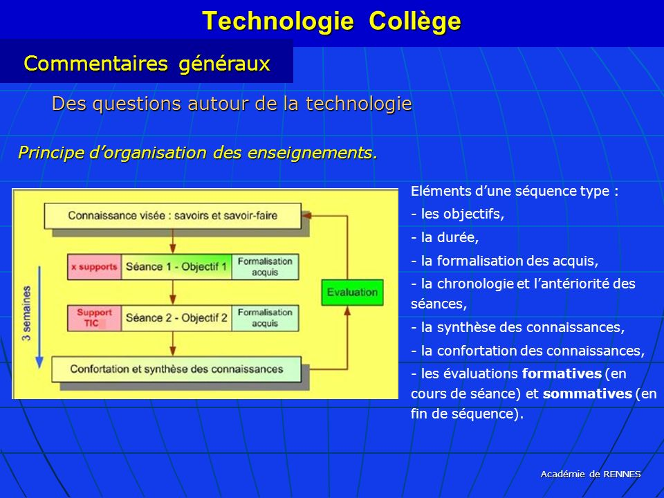 Technologie Collège Commentaires généraux