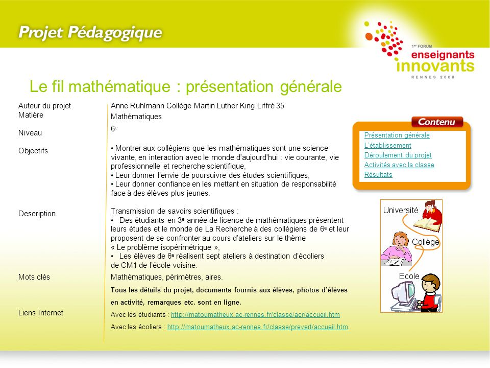 Le fil mathématique : présentation générale
