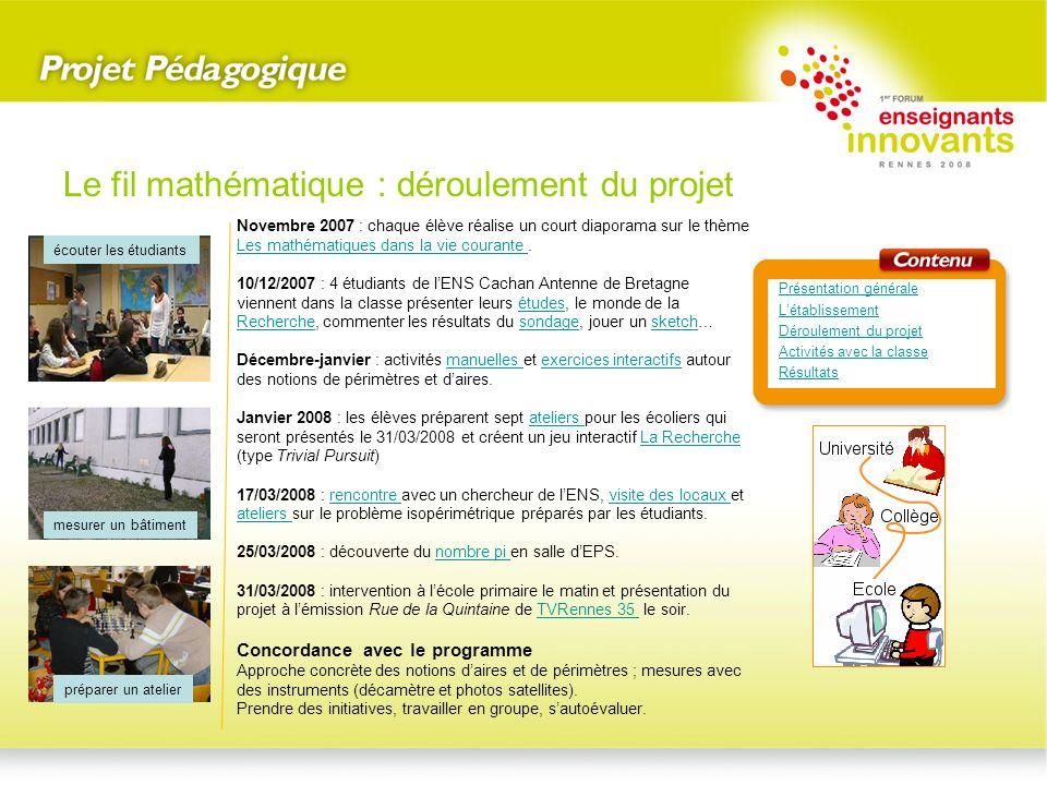 Le fil mathématique : déroulement du projet