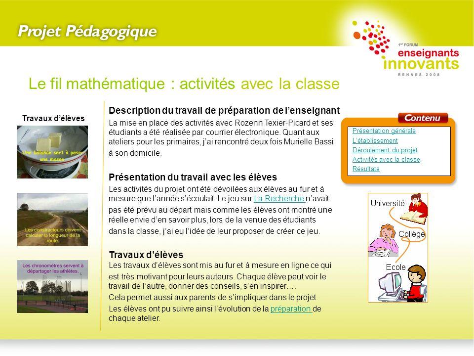 Le fil mathématique : activités avec la classe