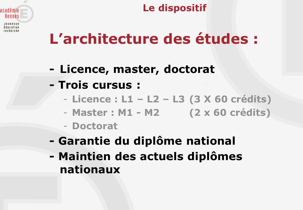 L'architecture des études :
