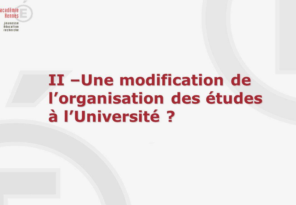 II –Une modification de l'organisation des études à l'Université