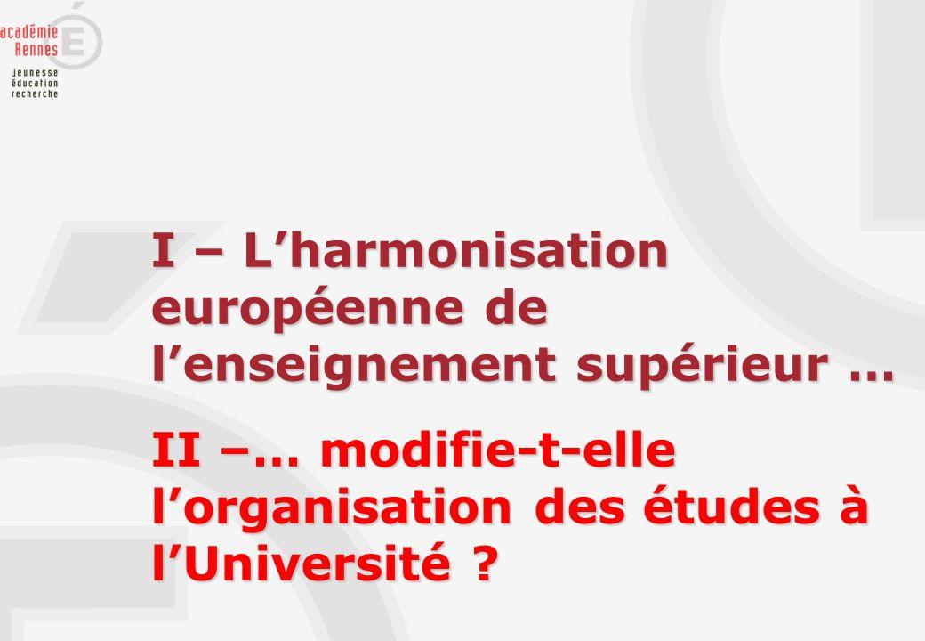 I – L'harmonisation européenne de l'enseignement supérieur …
