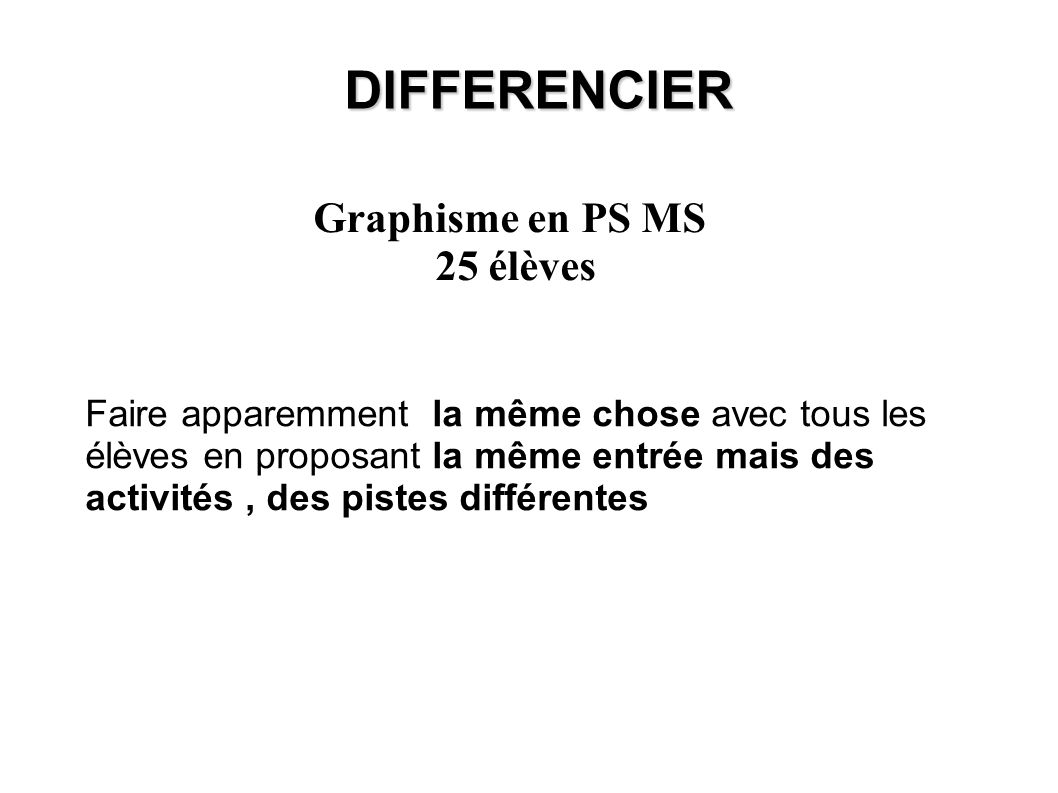 DIFFERENCIER Graphisme en PS MS 25 élèves