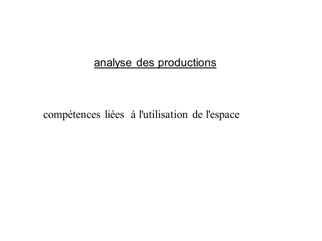 analyse des productions