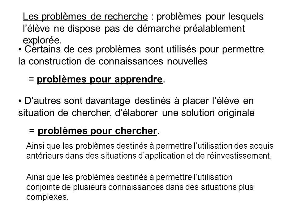 = problèmes pour apprendre.