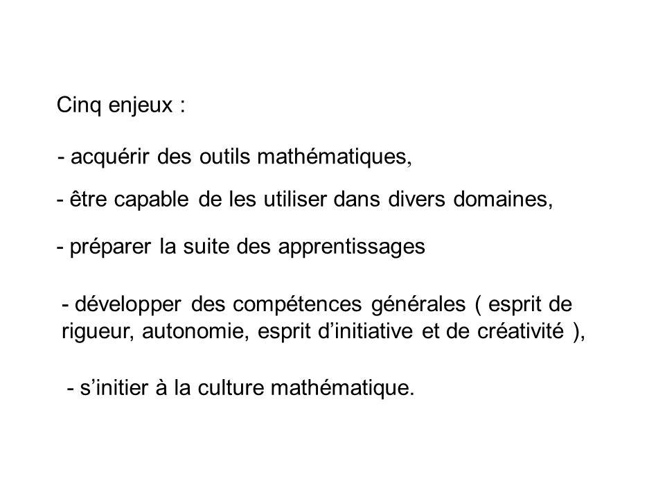Cinq enjeux : - acquérir des outils mathématiques, - être capable de les utiliser dans divers domaines,