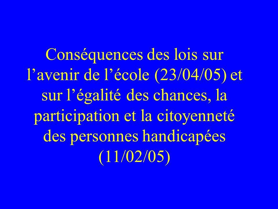 Conséquences des lois sur l'avenir de l'école (23/04/05) et sur l'égalité des chances, la participation et la citoyenneté des personnes handicapées (11/02/05)