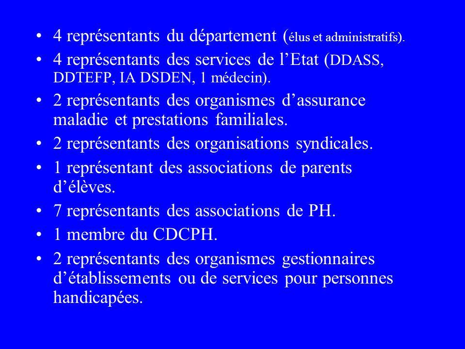4 représentants du département (élus et administratifs).